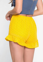 Seeds Polka Dot Ruffle Shorts in Yellow