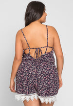 Plus Size Berlin Floral Romper in Navy