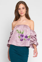 Applique Off Shoulder Satin Top