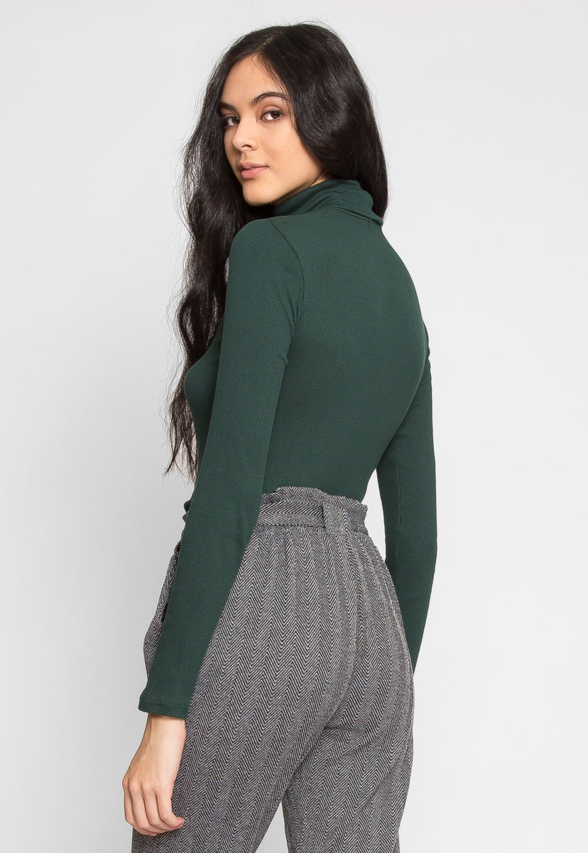 Hail Turtleneck Top in Green - Shirts & Blouses - Wetseal