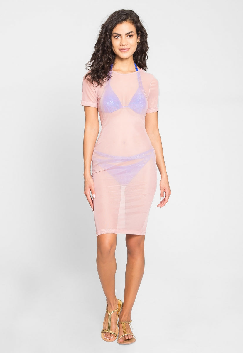 Pool Side Mesh Bodycon Dress in Blush - Swimwear - Wetseal