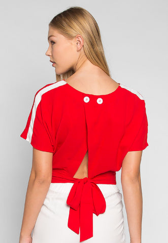 Supernova Tie Back Waist Blouse in Red