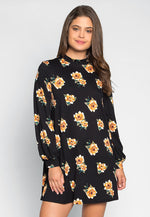 Happy Soul Floral Dress in Black