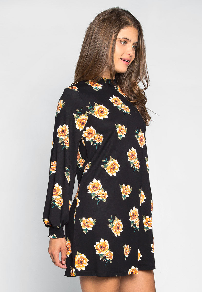 Happy Soul Floral Dress in Black - Dresses - Wetseal