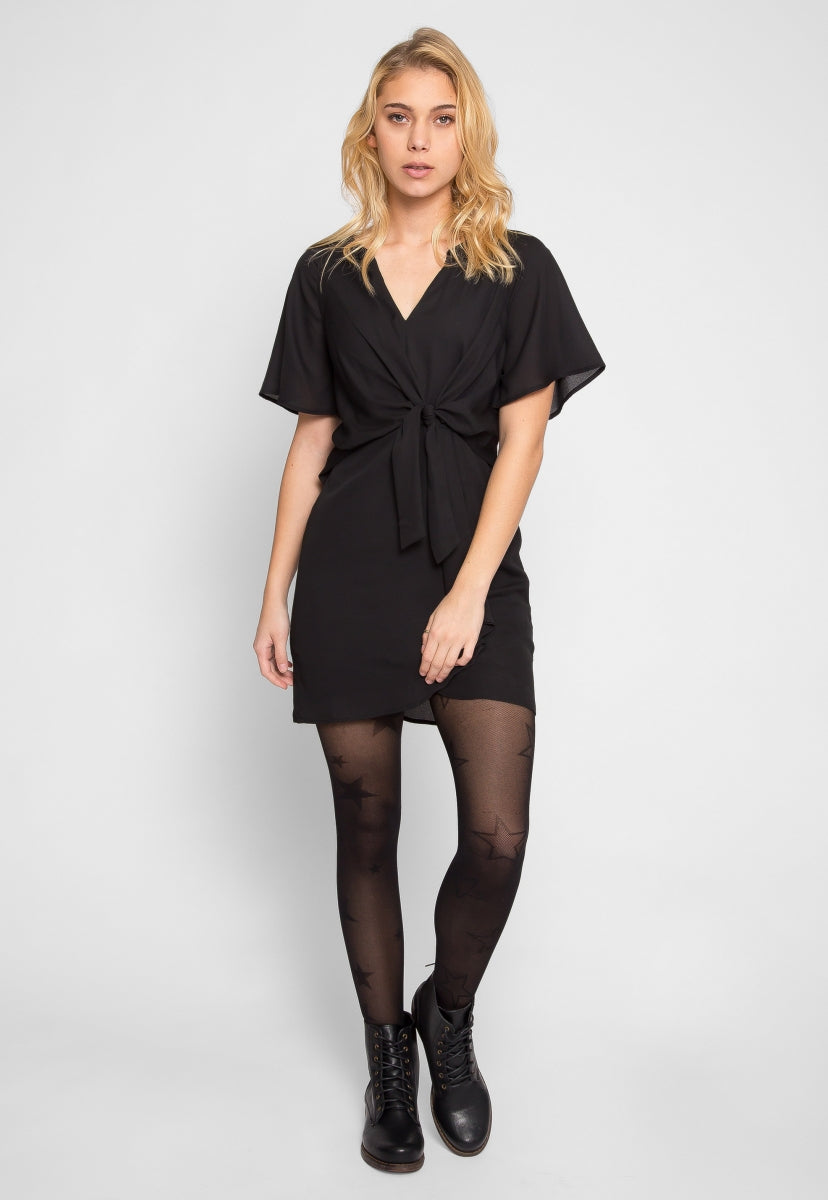 Samba Knotted Front Zip Back Top in Black - Dresses - Wetseal