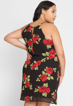Plus Size France Pleated Floral Dress