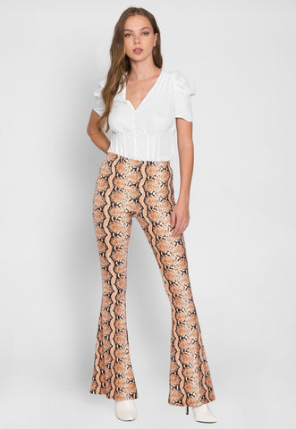 Cool Snake Print Knit Kick Flare Pants