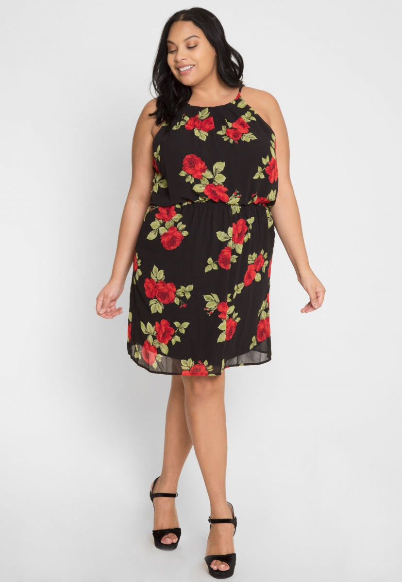 Plus Size France Pleated Floral Dress - Plus Dresses - Wetseal