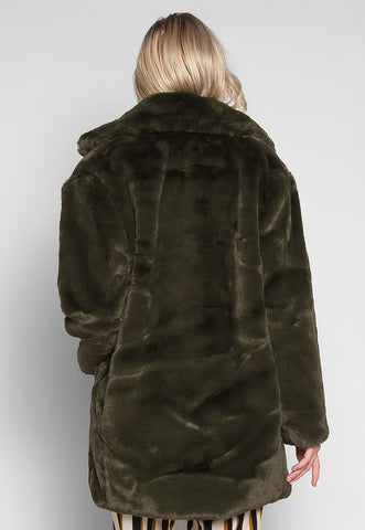 Loving Winter Faux Fur Coat in Green