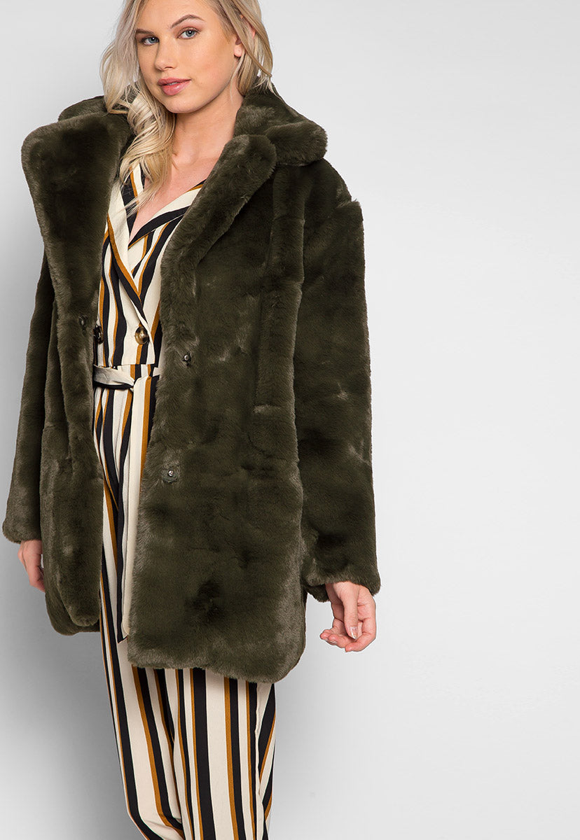 Loving Winter Faux Fur Coat in Green - Jackets & Coats - Wetseal