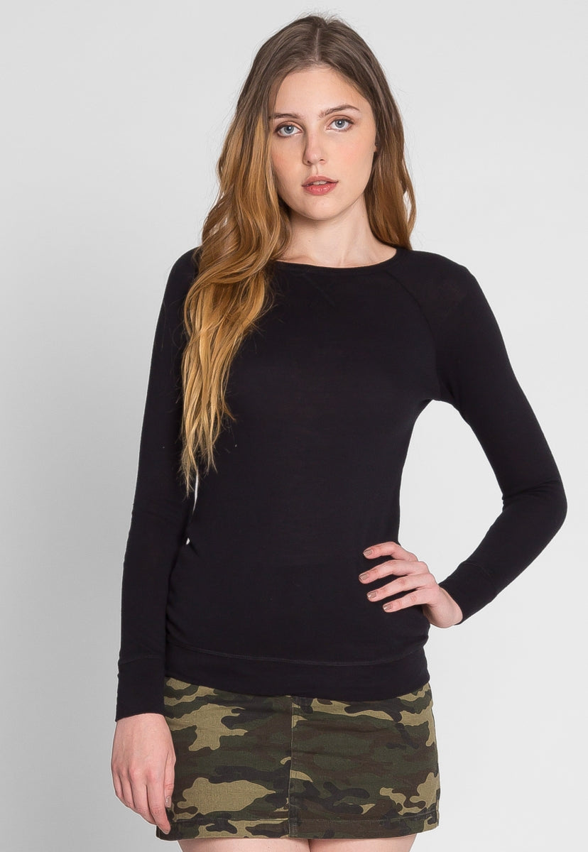 Below Zero Topstitch Sweater Top in Black - Shirts & Blouses - Wetseal