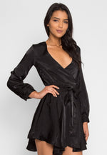 Satin Wrap Dress in Black