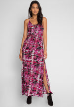 Abstract Floral Printed Maxi Dress