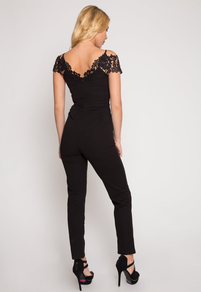Downtown Crochet Jumpsuit in Black - Rompers & Jumpsuits - Wetseal
