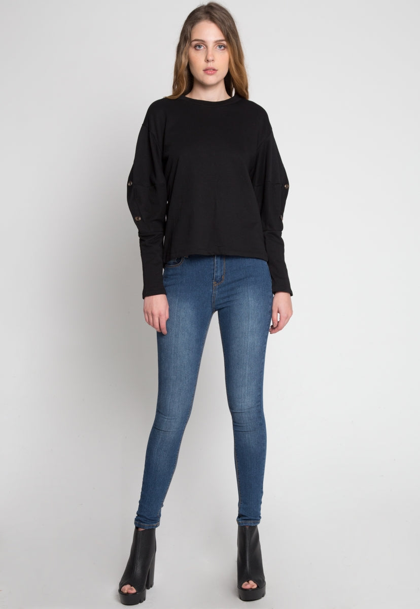 Something New Puff Sleeve Sweater in Black - Sweaters & Sweatshirts - Wetseal