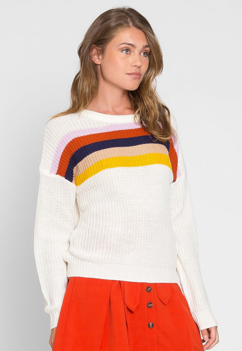 Eternity Multi Stripe Sweater in Cream - Sweaters & Sweatshirts - Wetseal