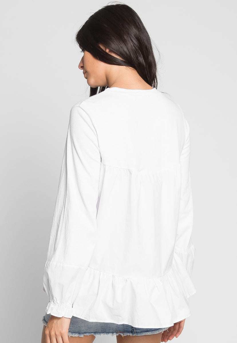 Penelope Oxford Sleeve Peplum Top - Shirts & Blouses - Wetseal