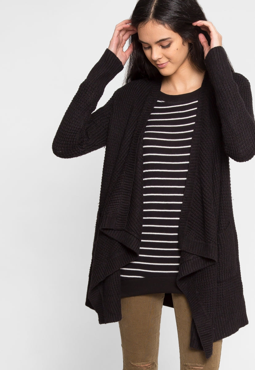 Thrills Textured Cardigan in Black - Sweaters & Sweatshirts - Wetseal