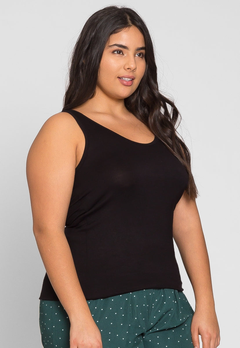 Plus Size Rachel Relaxed Tank Top in Black - Plus Tops - Wetseal