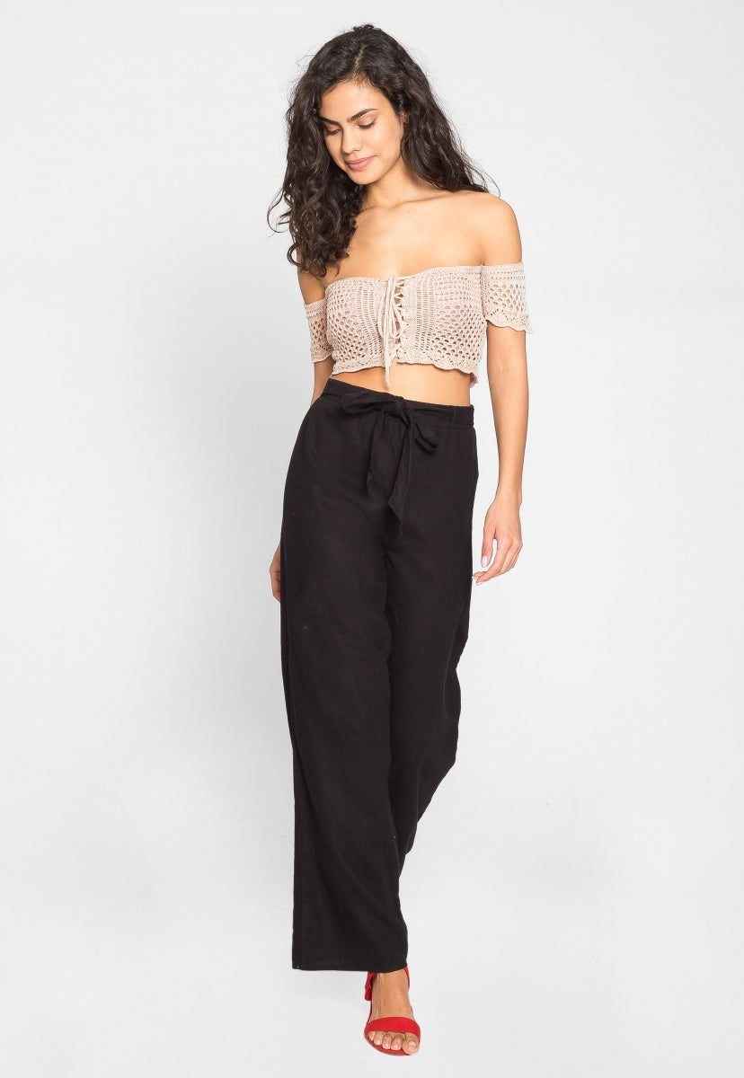 Puerto Crochet Off Shoulder Crop Top in Blush - Crop Tops - Wetseal