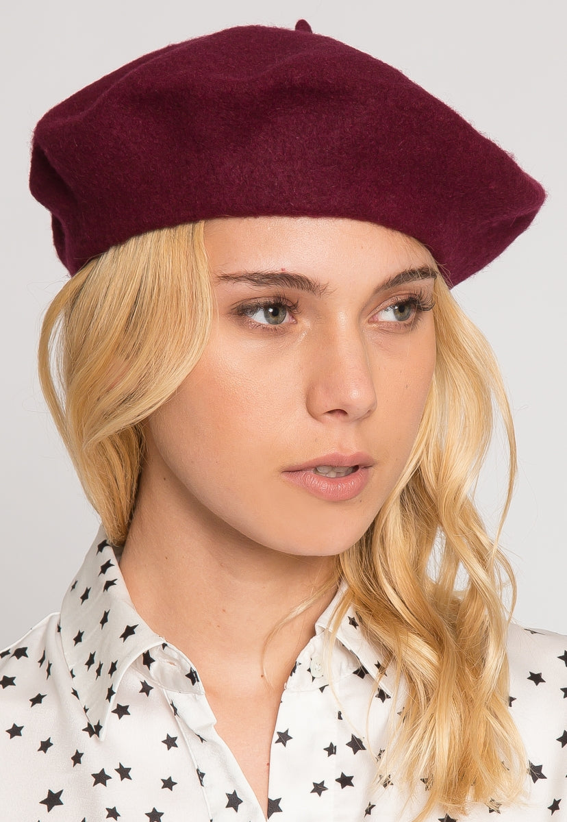 Lovely Beret in Burgundy - Hat & Hair - Wetseal