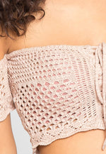 Puerto Crochet Off Shoulder Crop Top in Blush