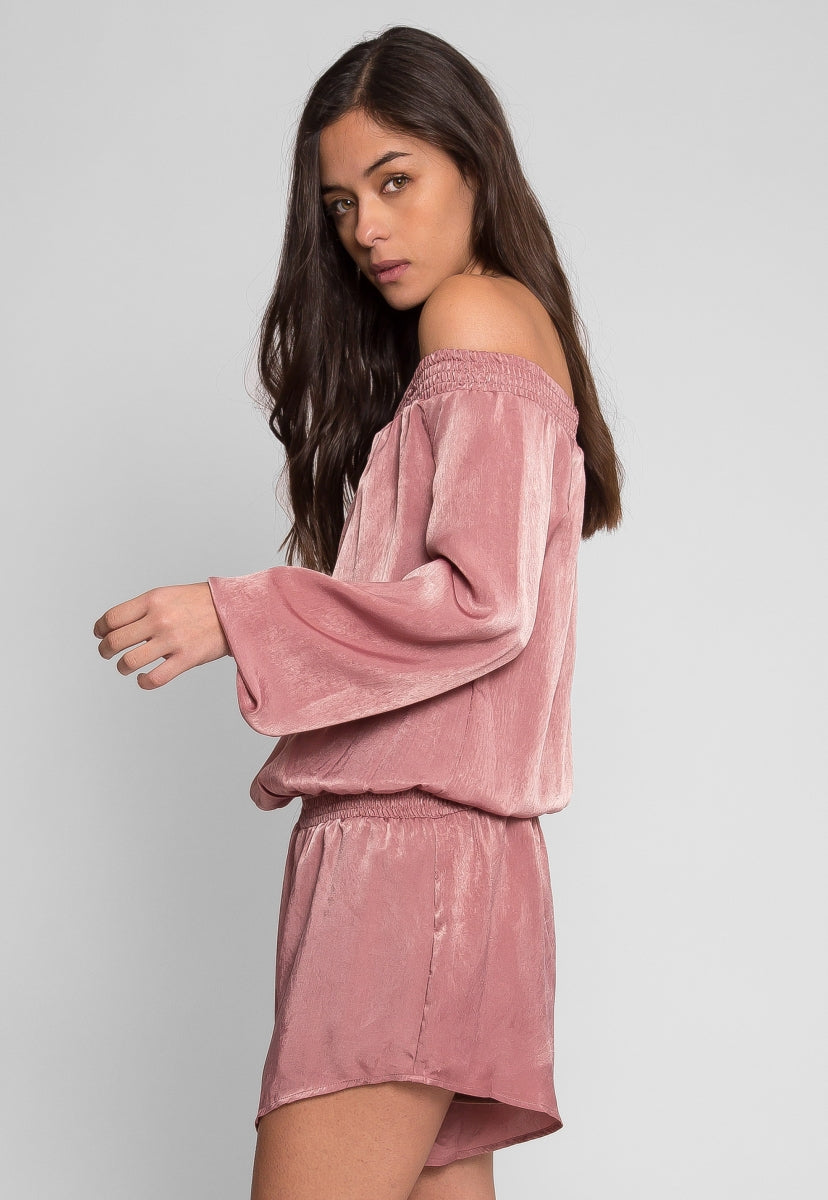 Malvern Satin Off Shoulder Romper in Mauve - Rompers & Jumpsuits - Wetseal