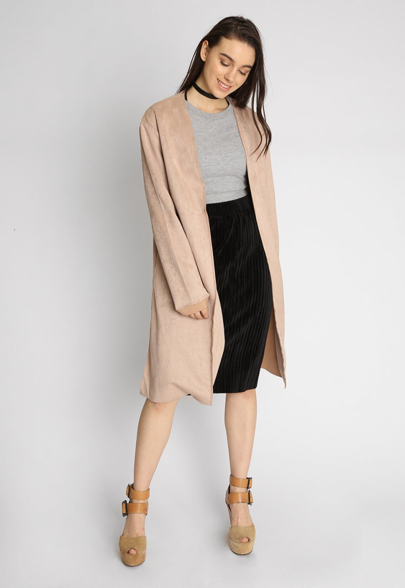 Faux suede coat in beige - Jackets & Coats - Wetseal