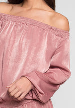 Malvern Satin Off Shoulder Romper in Mauve