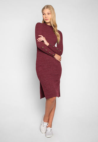 Wine Sorbet Button Sleeves Heathered Midi Dress