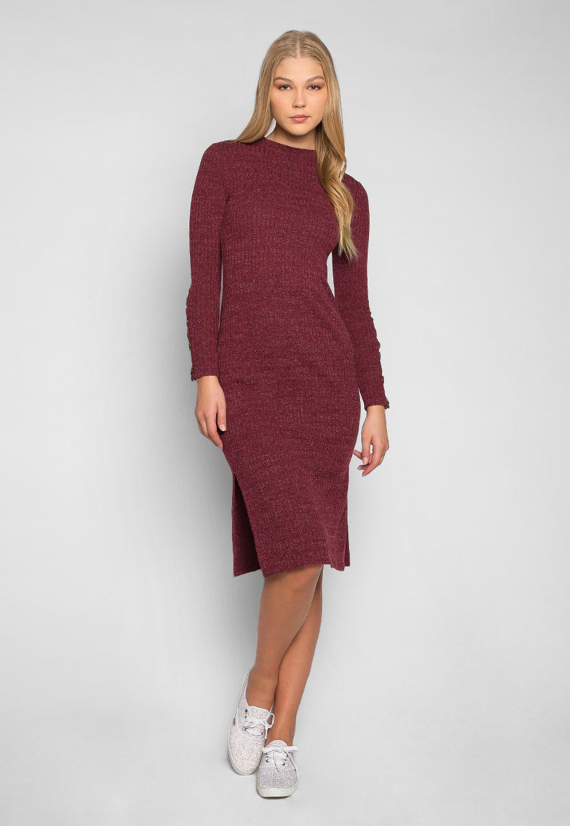Wine Sorbet Button Sleeves Heathered Midi Dress - Dresses - Wetseal