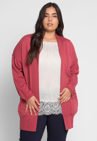 Plus Size Fireplace Cardigan in Burgundy