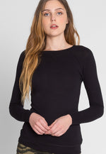 Below Zero Topstitch Sweater Top in Black