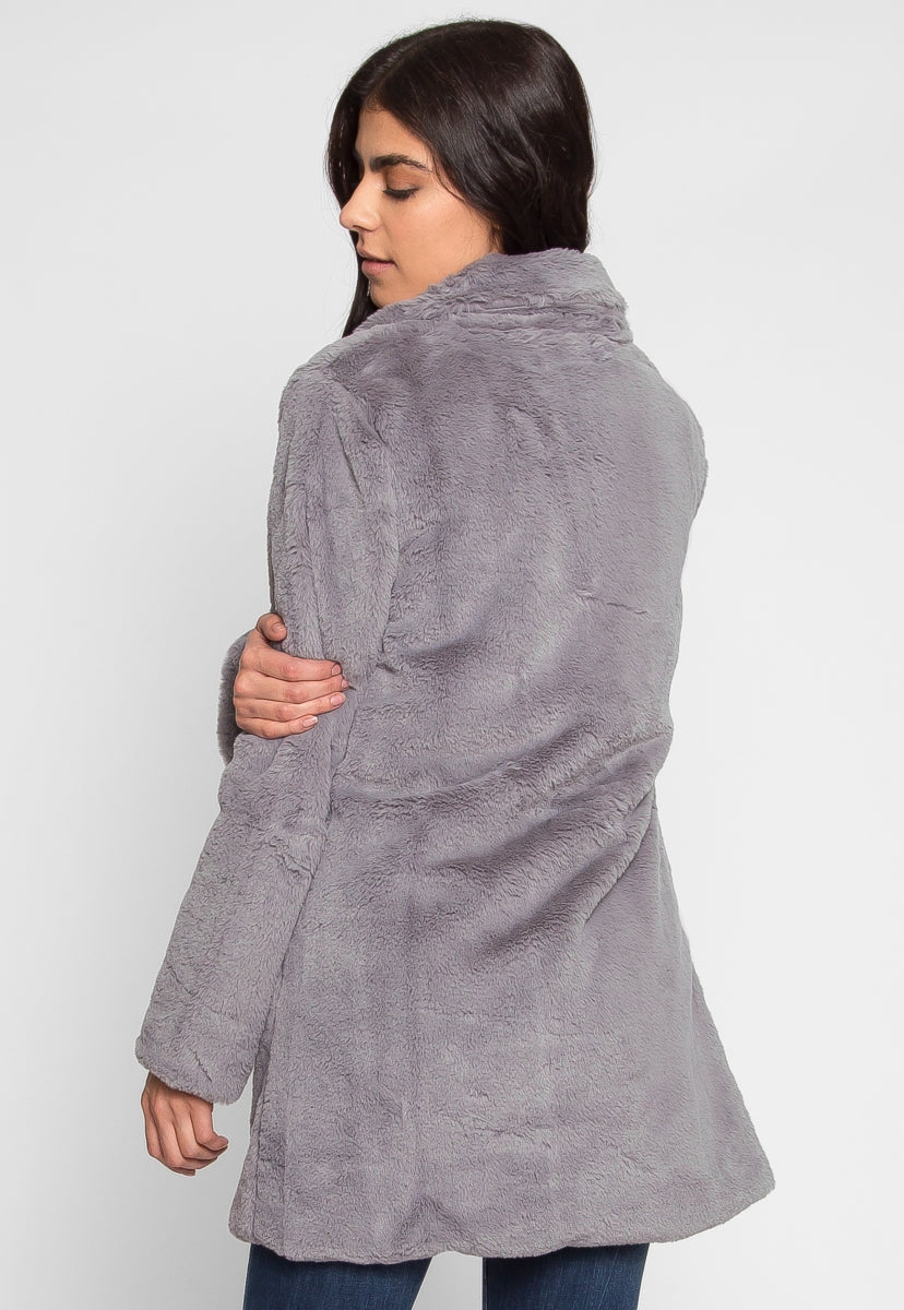 Glam Faux Fur Coat in Gray - Jackets & Coats - Wetseal