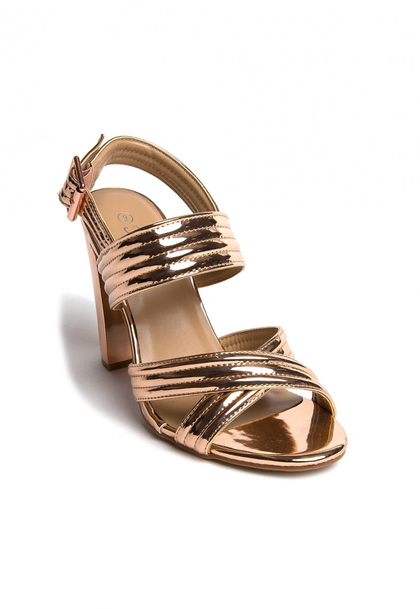 Roxanne Metallic Block Heels in Rose Gold - Shoes - Wetseal