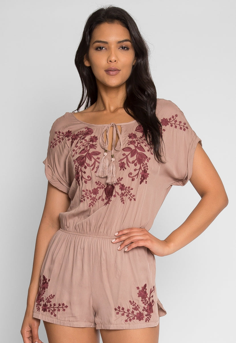 Bohemian Embroidered Romper - Rompers & Jumpsuits - Wetseal
