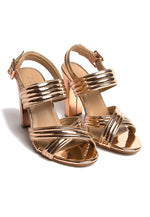 Roxanne Metallic Block Heels in Rose Gold