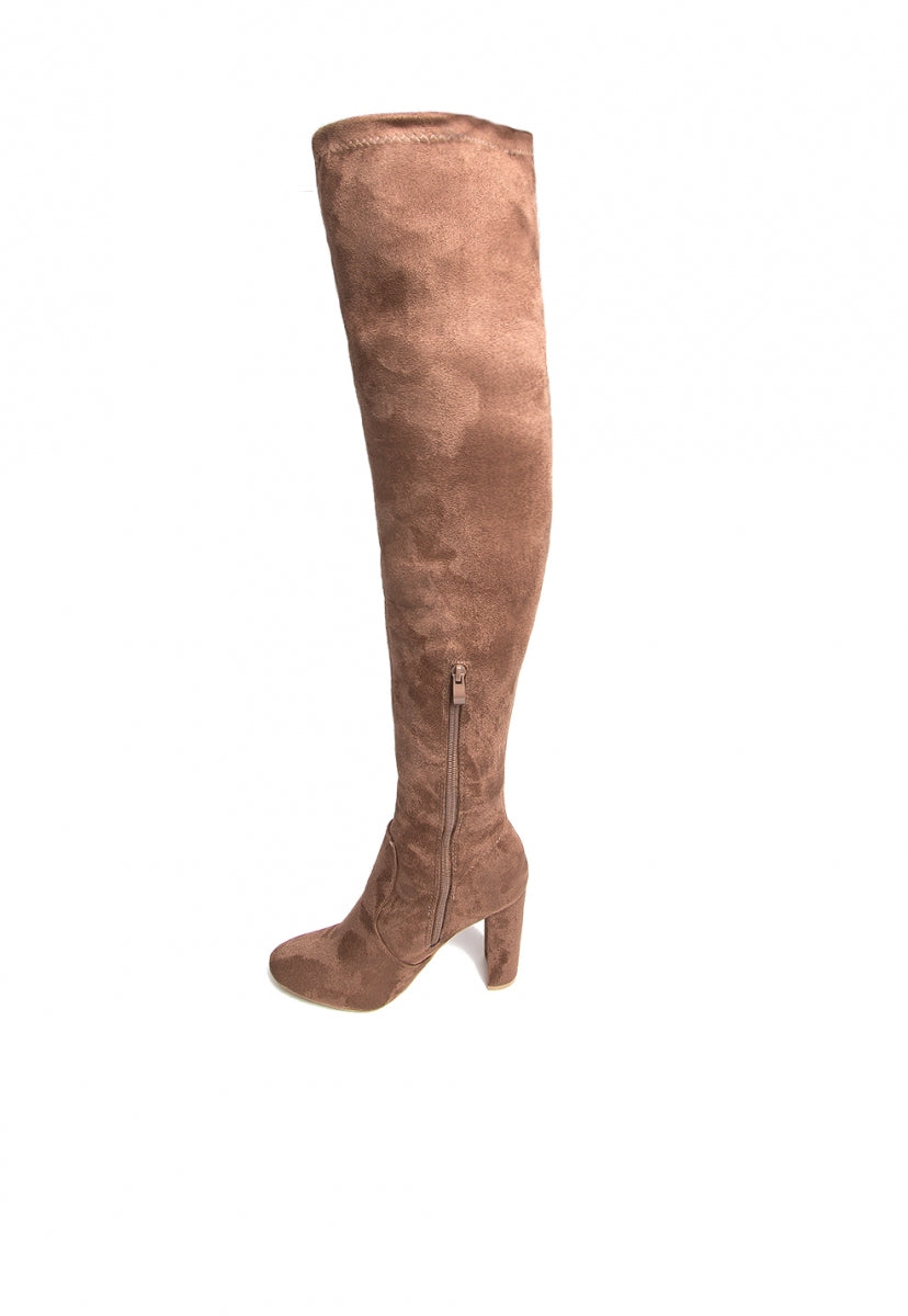 Illa Thigh High Embroidered Boots in Brown - Shoes - Wetseal