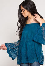 Maple Off Shoulder Lace Top In Teal