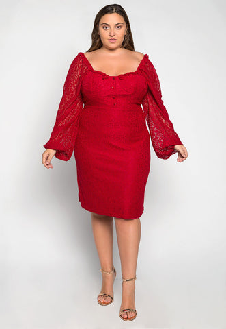 Plus Size Rosalie Lace Dress in Red
