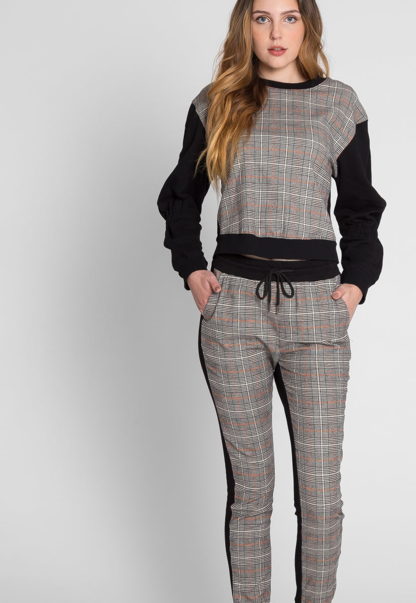 Break A Sweat Plaid Lounge Set - Set - Wetseal
