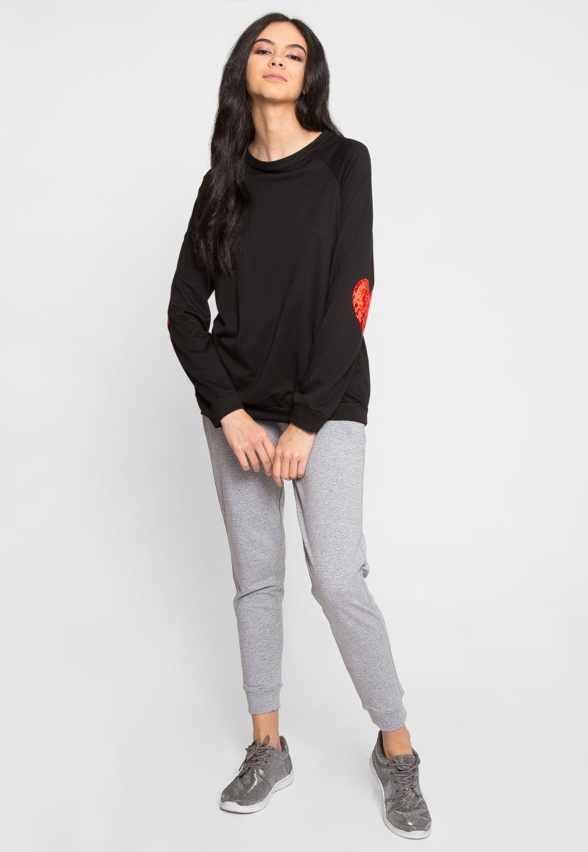 HEART EYES LONGLINE SWEATER IN BLACK - Sweaters & Sweatshirts - Wetseal