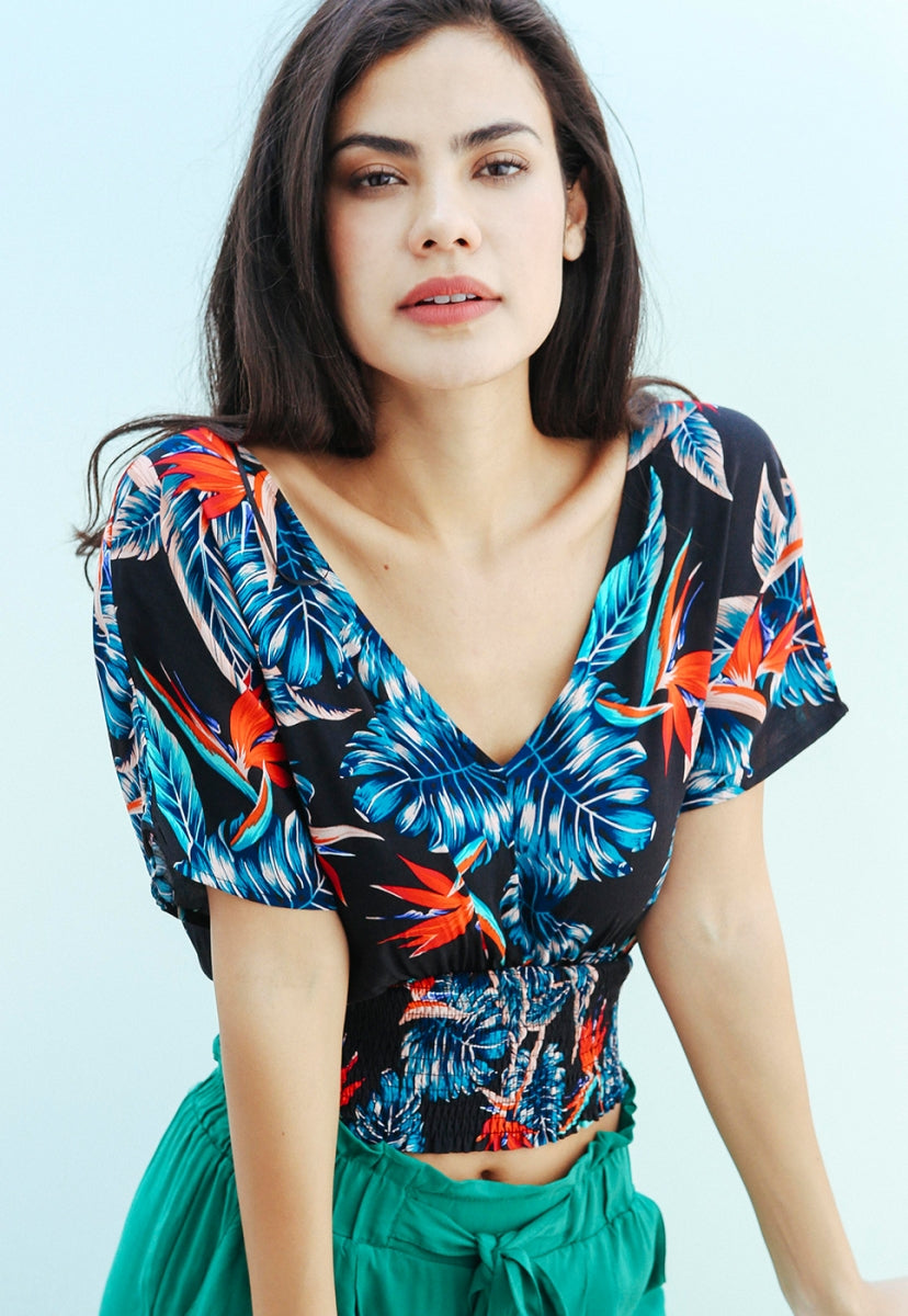 Ibiza Tropic Crop Smock Blouse in Black - Shirts & Blouses - Wetseal