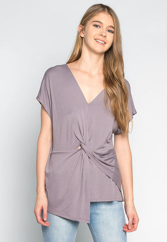 Float on Twisted Front Blouse in Gray