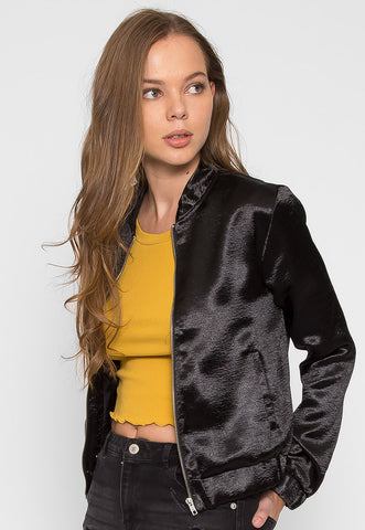 Plenty of Time Satin Bomber Jacket