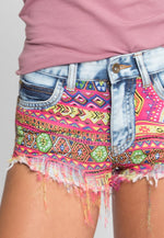 No Handle Graphic Denim Shorts