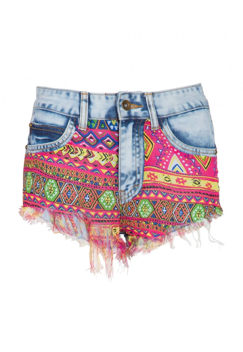 No Handle Graphic Denim Shorts - Short - Wetseal
