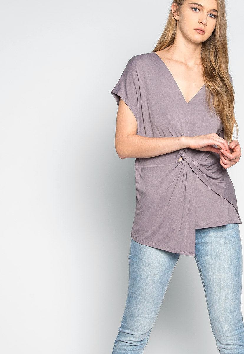 Float on Twisted Front Blouse in Gray - Shirts & Blouses - Wetseal