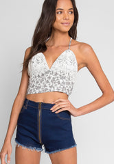 Krische Floral Crop Top In Off White by Wet Seal
