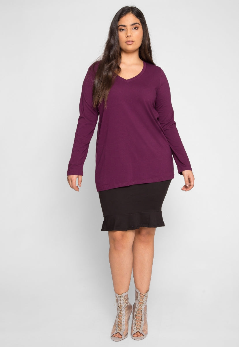 Plus Size Parade V-Neck Top in Purple - Plus Tops - Wetseal